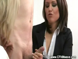 cfnm workplace jerkoff session with super mature