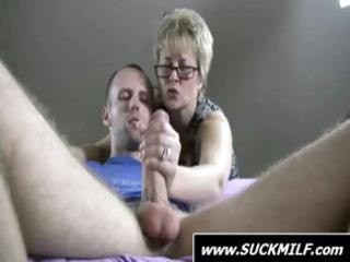 blonde woman give these dude with a large penis