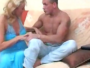 milf makes him cumshots in condom