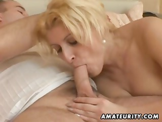 busty, chubby young housewife eats his cock,