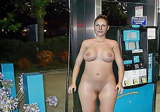 milf publicly naked at gas station