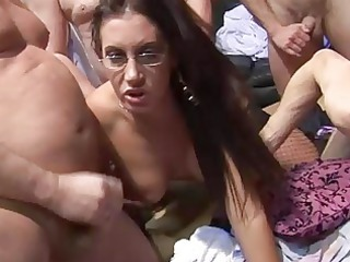 3 ladies have a older  fresh group sex