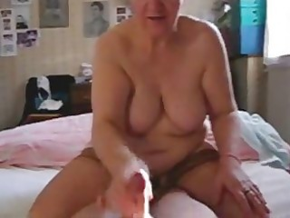 my bitch older  aunt jerking my penis