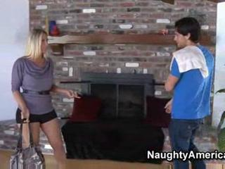 blond lady has strong fuck n front of fireplace