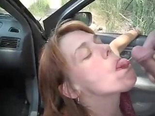 car oralservice fun and sperm flow with a mother