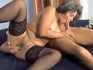 old into nylons enjoys cock