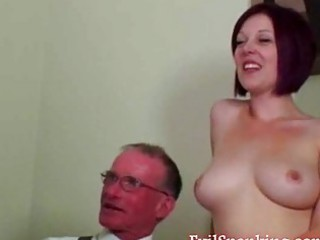young angel takes uneasy  spanking from a grandpa