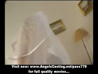super albino lady as bride does blowjob and