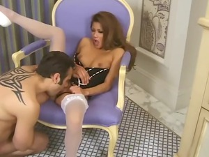 milf in a bustier and white nylons having sex