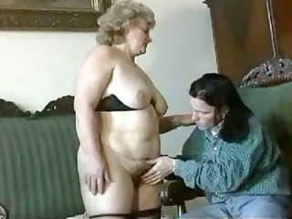 fat, blonde granny acquires licked, blows, and