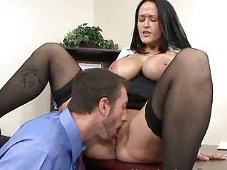 cougar slutty brunette copulates businessman