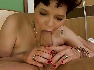 busty old does dick sucking and acquires pierced