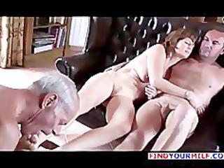 elderly cuckold suck both lady and master foot