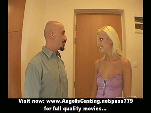 blonde wonderful bride angel doing blowjob into
