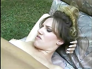 naughty brunette drilled outside by a huge