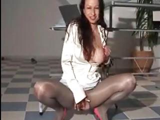 piss satin  mature babe inside super shiny skirt