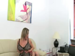 cougar girl banging on leather couch