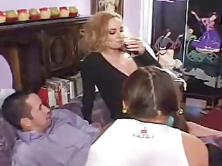 mom pleases with her daughter and bf nasty games