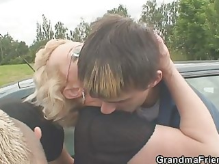 cougar angel into the public threesome