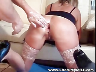 inexperienced woman with fist and 2 hands up her
