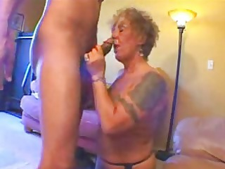 tattooed granny biker girl gets freaky