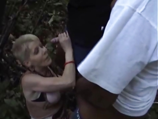 french naughty old gangbanged outside