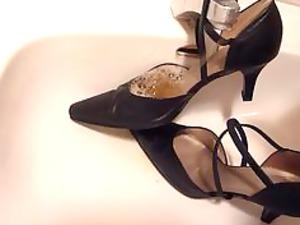 peeing inside wifes strap high heels