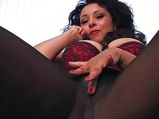 horny dark haired woman into ebony pantyhose