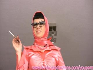 filthy talking busty woman smoking femdom
