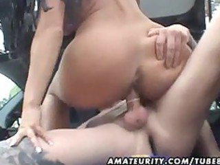 naughty amateur maiden gang-banged into a car
