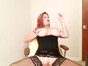 redhead mature smoking and pleasing