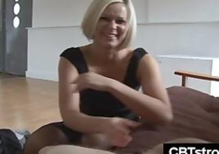 blond woman slaps libido harsh during handjob
